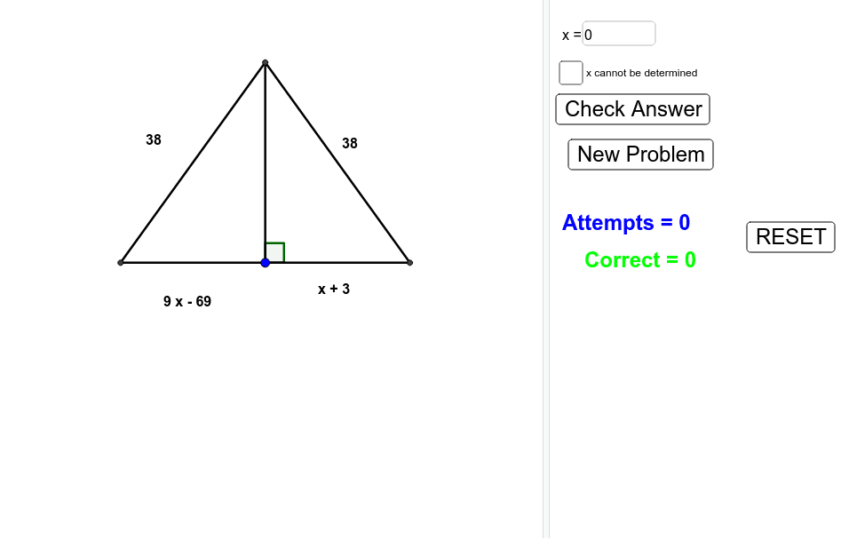 "Before starting, click on ""New Problem."" Determine whether the value of ""x"" can be found.  If so, put the value of x in the box, hit enter, and press ""Check Answer.""  If not, select the checkbox and press ""Check Answer."""