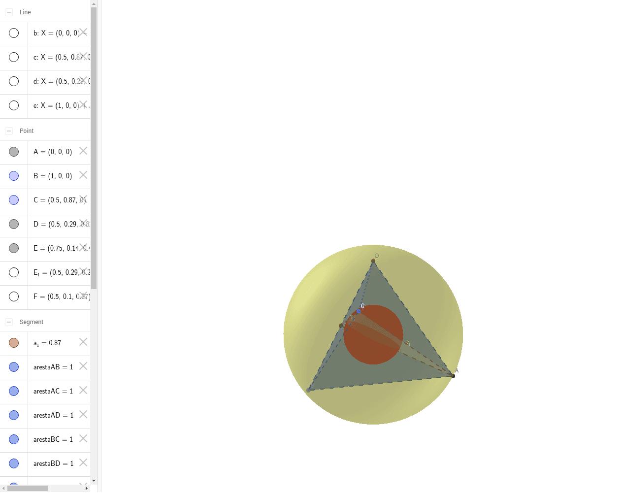 Esferas Inscrita e Circunscrita a um Tetraedro: Press Enter to start activity