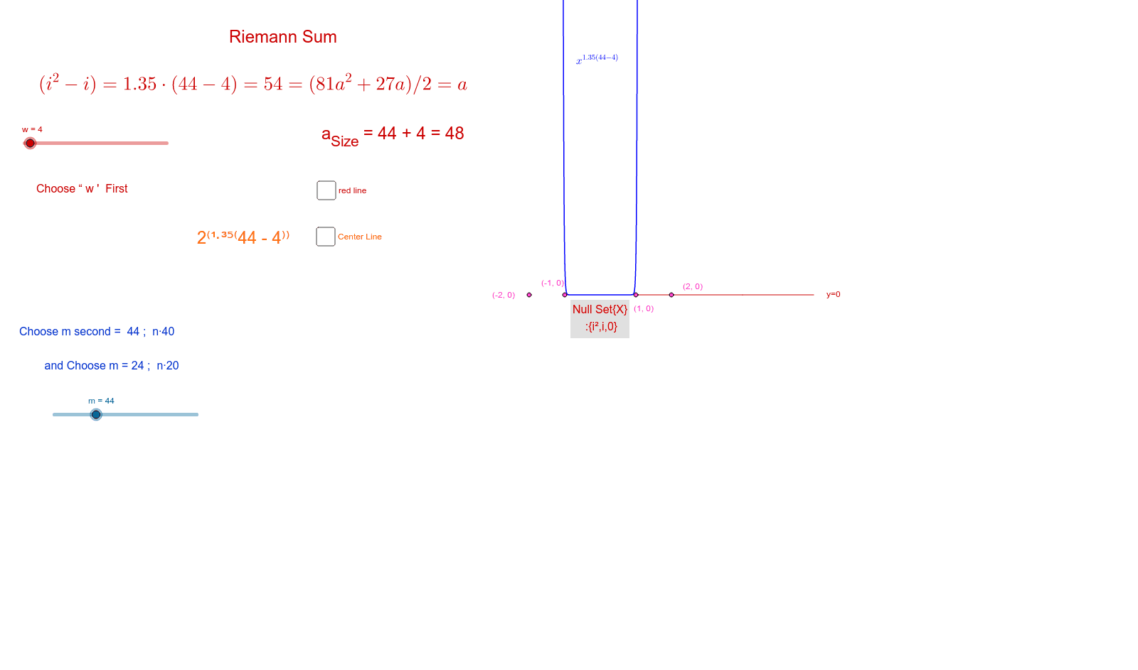 See w = 84  with  m = 44 ; Chose w=64 , m = 44 to see hyperbola ; differences of 20