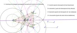 triángulo: circuncentro, ortocentro, baricentro e incentro