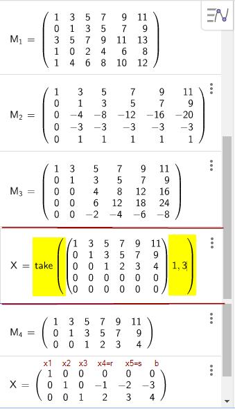Beispiel mit abhängigen Gleichungen (Zeilen)