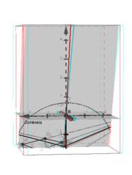 Perspektive mit geneigtem Blick auf einen Würfel anaglyph