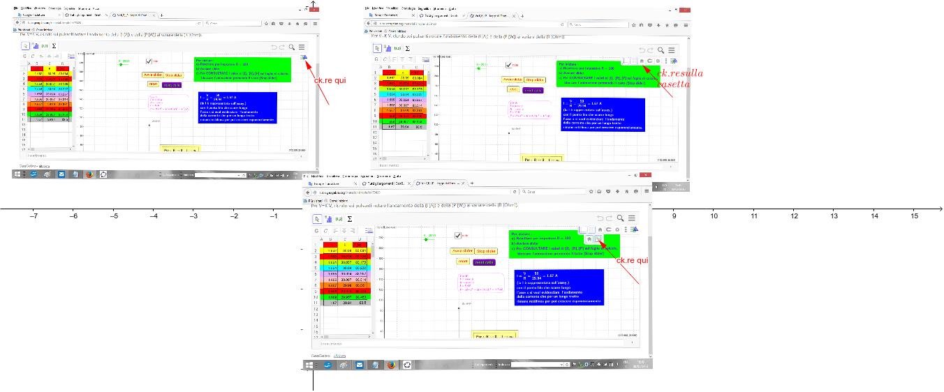 Nell'aprire il materiale in GGBTube, qualora il materiale stesso non sia visibile nella sua interezza, cliccare sulle icone indicate dalle frecce rosse. Premi Invio per avviare l'attività