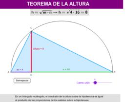 Triángulos rectángulos: Teoremas del cateto y de la altura