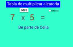 Tabla de multiplicar de Celia
