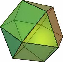 Je kunt een driehoekige koepel ook zien als een halve kuboctaëder (een van de 13 Archimedische lichamen)