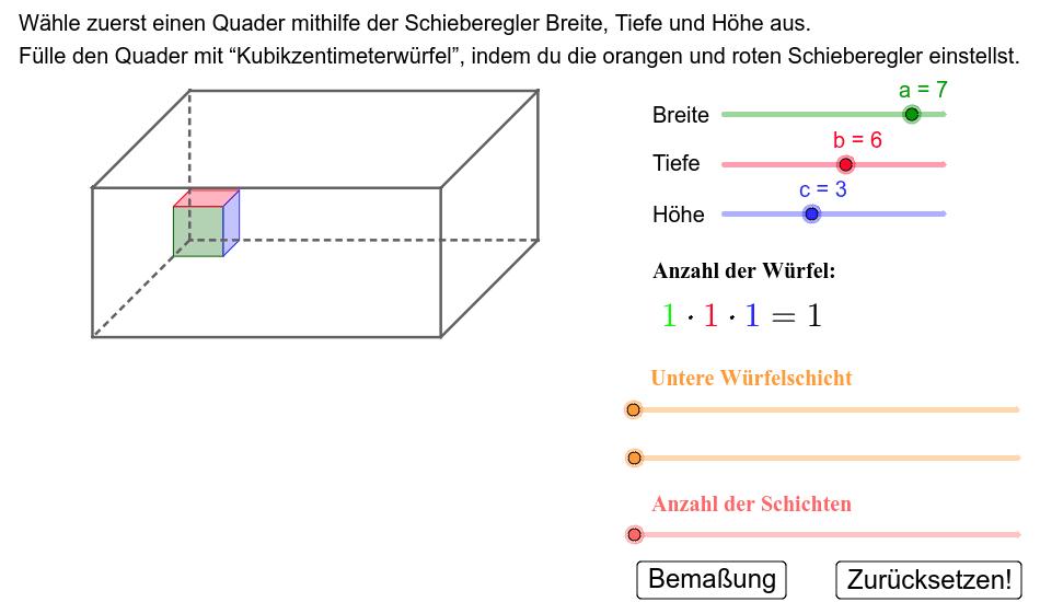 Volumen eines Quaders Drücke die Eingabetaste um die Aktivität zu starten