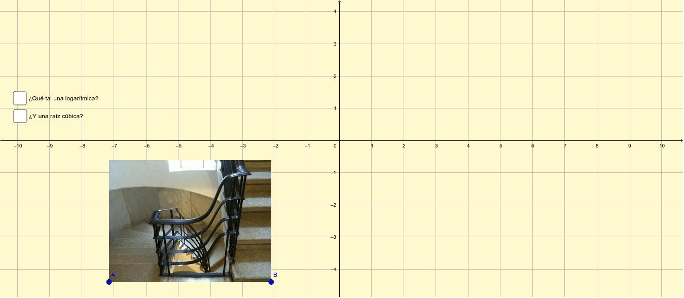 Una escalera y dos opciones... prueba con una a la vez y trata de encontrar la forma de hacer coincidir a la imagen con las curvas propuestas... Presiona Intro para comenzar la actividad