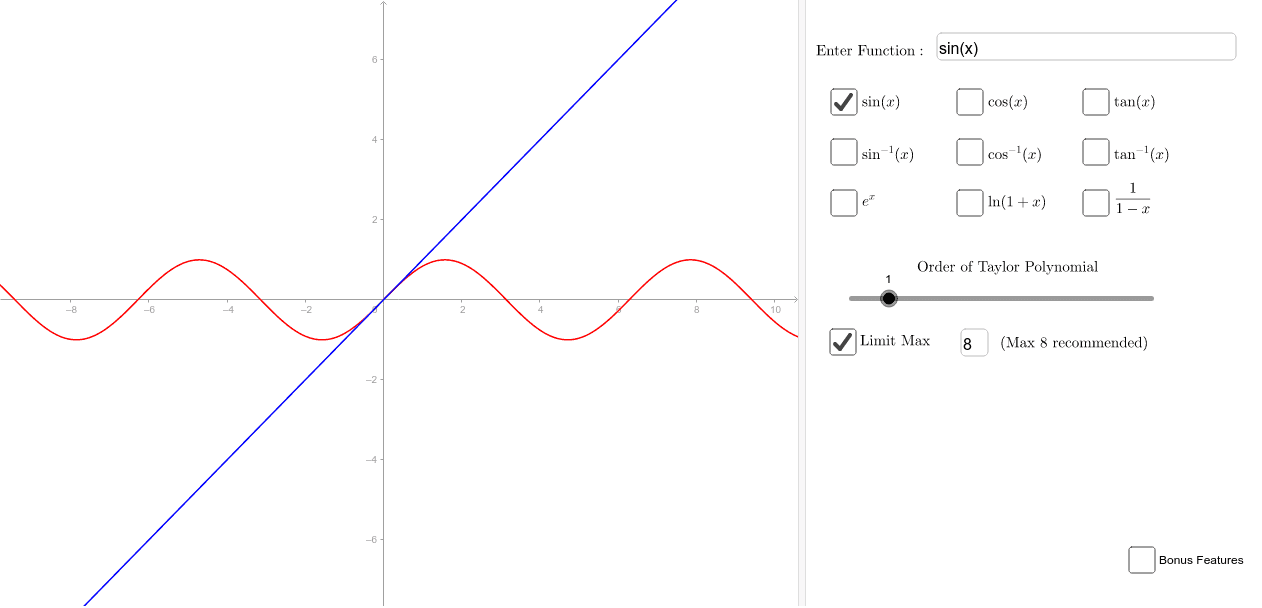 Shows the Taylor series approximation of nine common functions, with the option to define your own. Features an automatic limiter that prevents accidental lag. Bonus features allow starting point to be changed and error calculations.