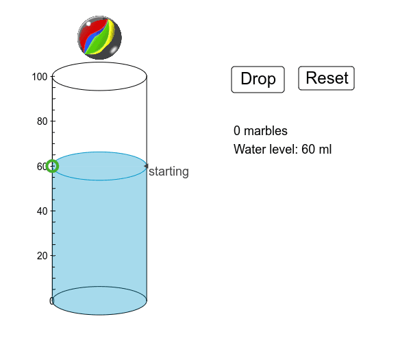 Move the green circle to set the starting water level. Record the new level after you drop each marble. Press Enter to start activity