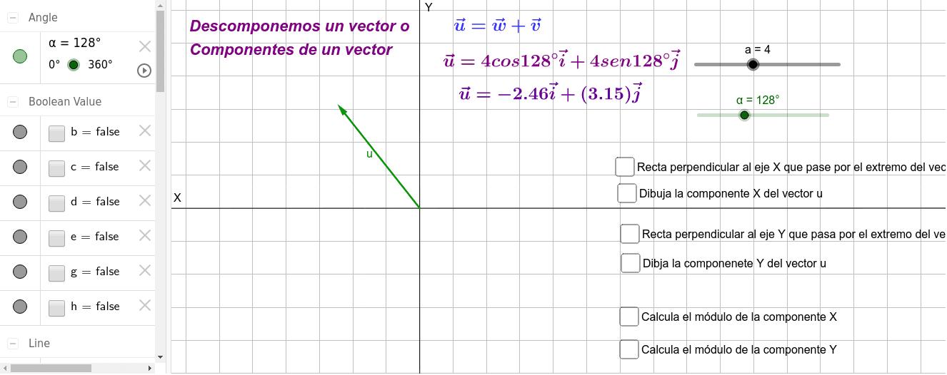 Descomposición de un vector Presiona Intro para comenzar la actividad