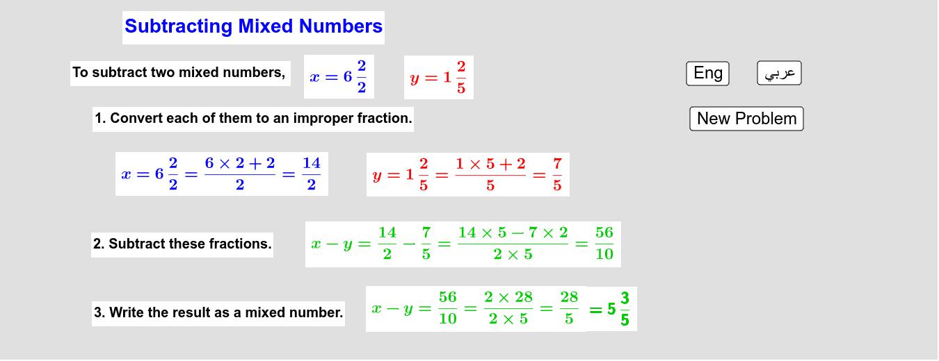 Subtracting Mixed Numbers         طرح الأعداد الكسرية Press Enter to start activity