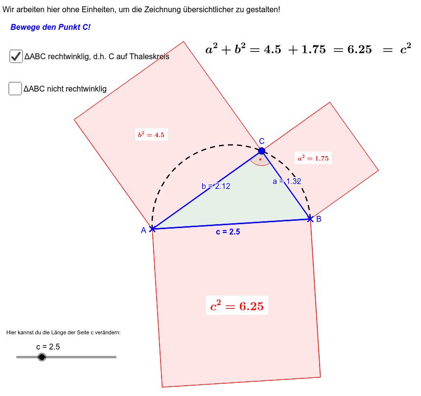"""Der Kosinussatz ist eine """"Anpassung"""" des Satz des Pythagoras für beliebige Dreiecke! Drücke die Eingabetaste um die Aktivität zu starten"""