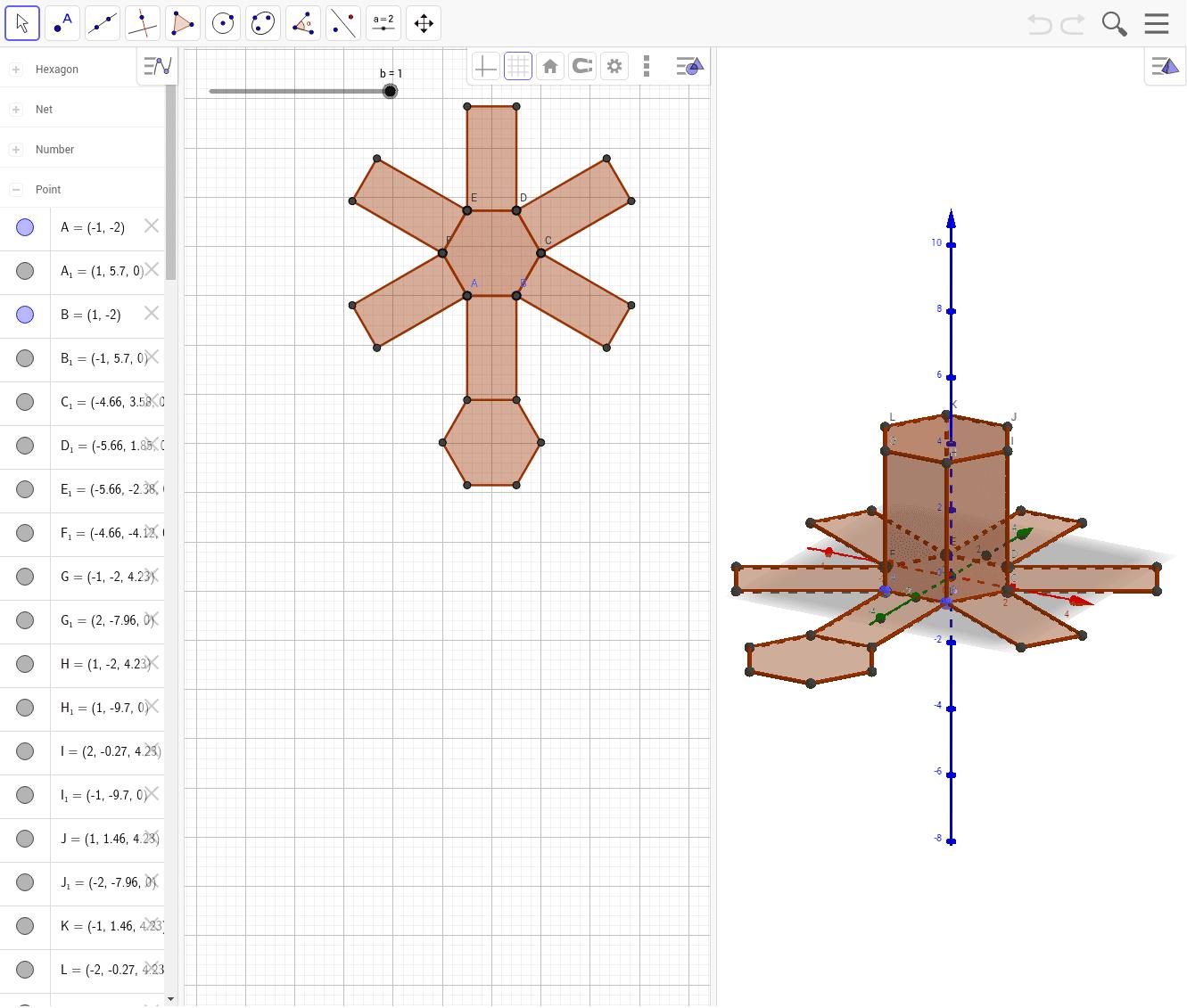Despliegue de un prisma con base hexagonal