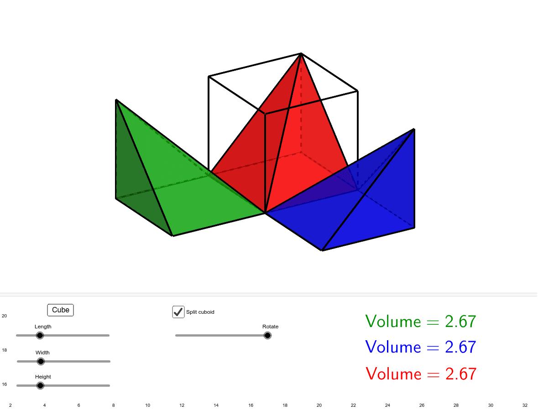 若將正方體體積分三等份,此三等份體積一樣嗎 ?