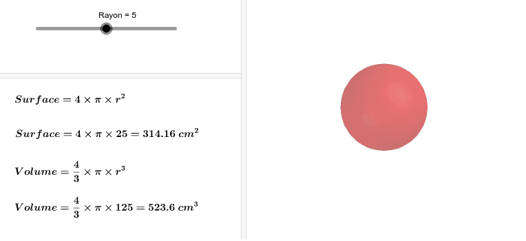 """Déplacer le ciurseur """"Rayon"""" afin de faire varier les dimensions de la sphère. Press Enter to start activity"""