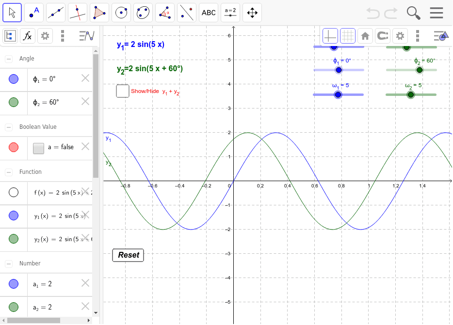 Addition of sine waves – GeoGebra