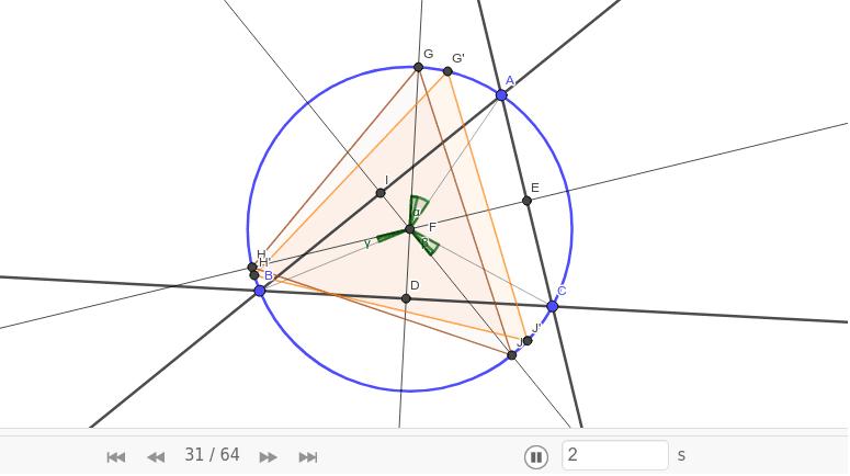 △G'H'J'が正三角形になることを証明するには中心角に注目する。