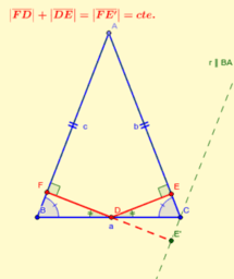 Suma de distancias de la base a lados en triang. isósceles