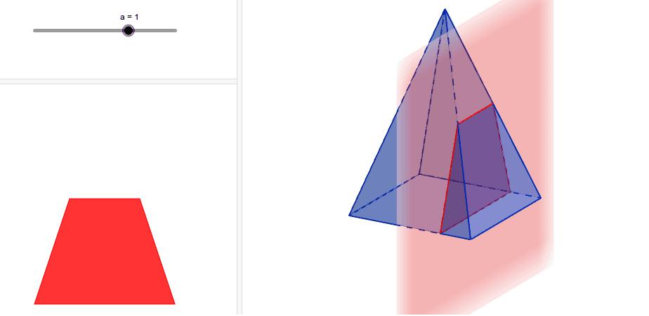 """Déplacer le curseur """"a"""" afin de faire bouger le plan vertical."""