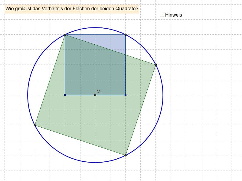 Verhältnis zweier Quadrate im Kreis