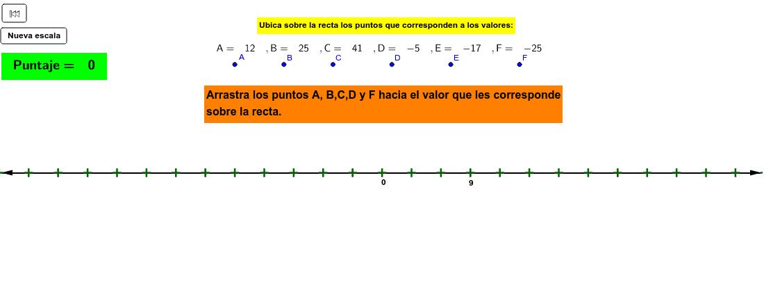 Arrastra y ubica los puntos de acuerdo con la escala dada en la recta