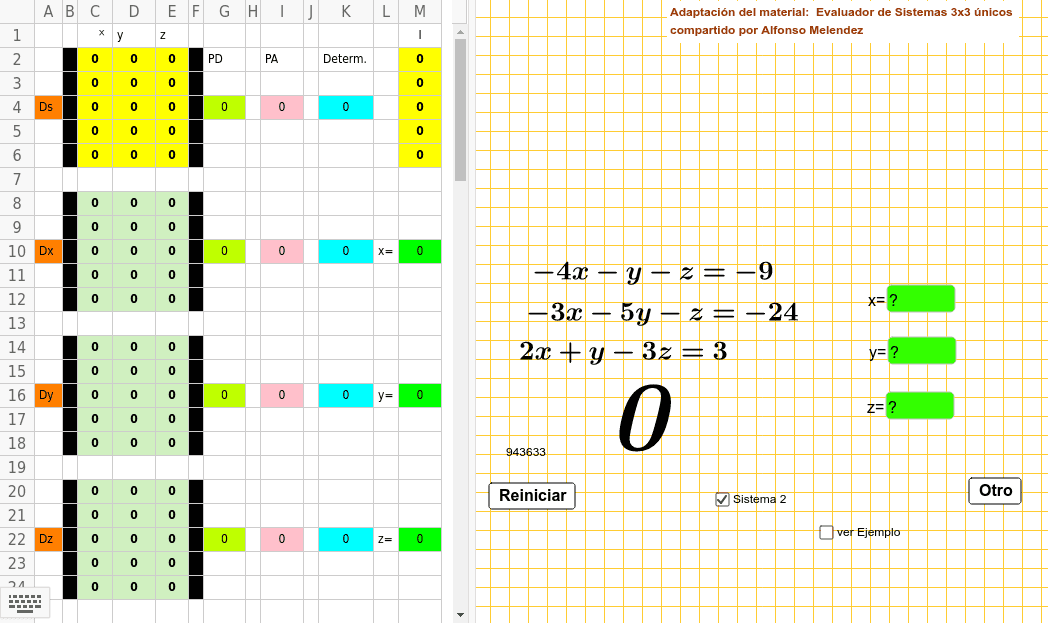 Adaptacion del material: Evaluador de sistemas únicos 3x3 de Alfonso Melendez