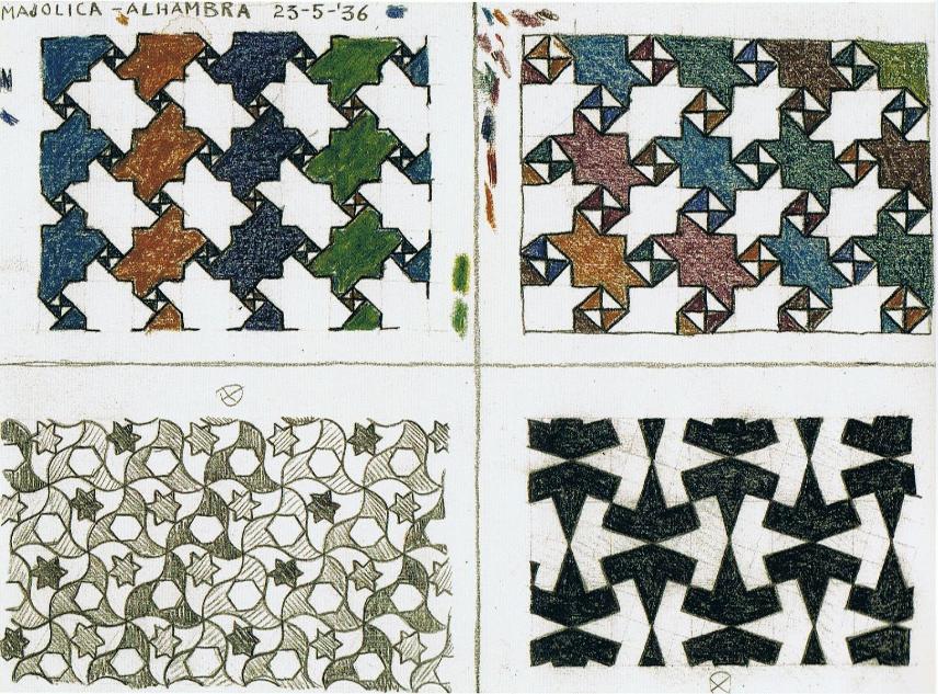De twee motieven op de bovenste rij zijn geometrisch identiek opgebouwd, maar de inkleuring verschilt. Het inkleuren in verticale of schuine kleurpanden geeft de tekening een totaal andere dynamiek.  Wat hem in de onderste rij boeit is de verhouding tussen voorgrond en achtergrond. Is wit gewoon de achtergrondkleur, of zijn er ook witte motieven?  Vlakverdelingen vormen hierna een belangrijk thema in Eschers werk. In deze tekeningen staat dynamiek steeds centraal, net als de meerdere lagen waarin je ze kunt bekijken.