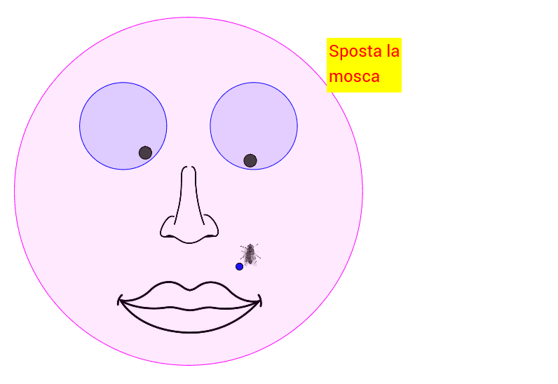Occhi che seguono la mosca Premi Invio per avviare l'attività