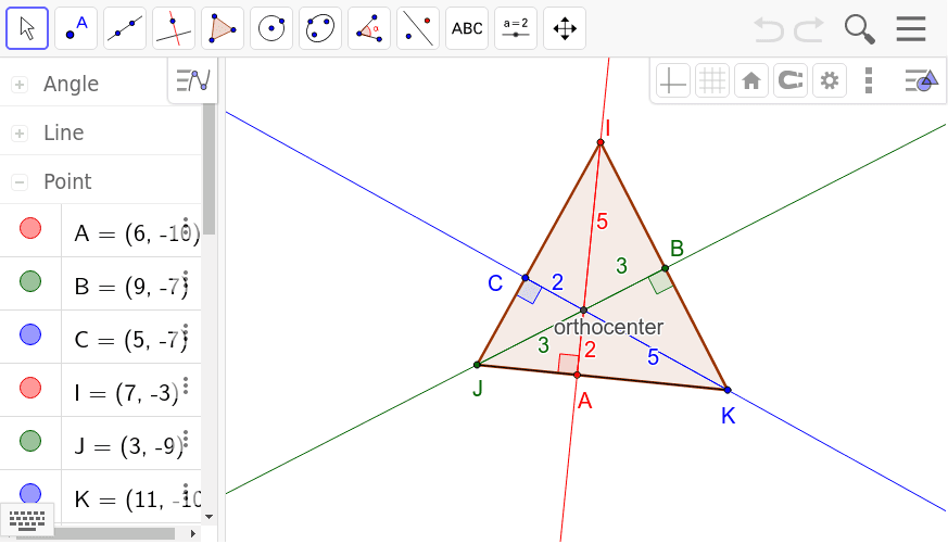 Move the vertices of the triangle to discover properties of the orthocenter. Press Enter to start activity