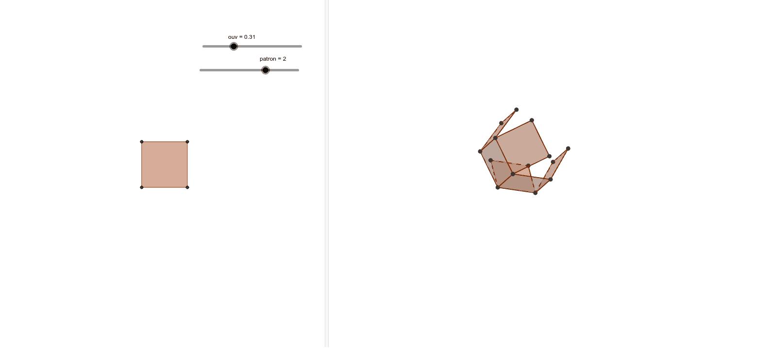 Trois patrons à choisir par le curseur «patron» (0, 1, 2 ou 3) et à créer avec le curseur «ouv».