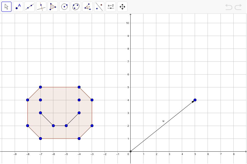 Traslada esta cara, con todos sus puntos segun el vector u  Presiona Intro para comenzar la actividad