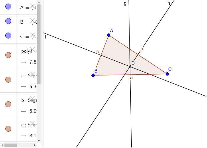 circumcentre-circumcentre is the point of concurrence of the perpendicular bisectors of the sides of a triangle. circumcentre is equidistant from the vertices of the triangle. Press Enter to start activity