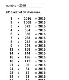 diviseurs d'un nombre entier