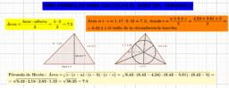 Tres fórmulas para el área del triángulo.