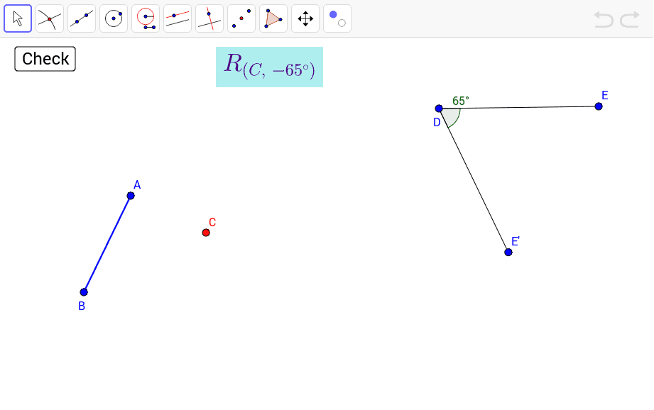 Construct the image of segment AB after a rotation of -65° about point C