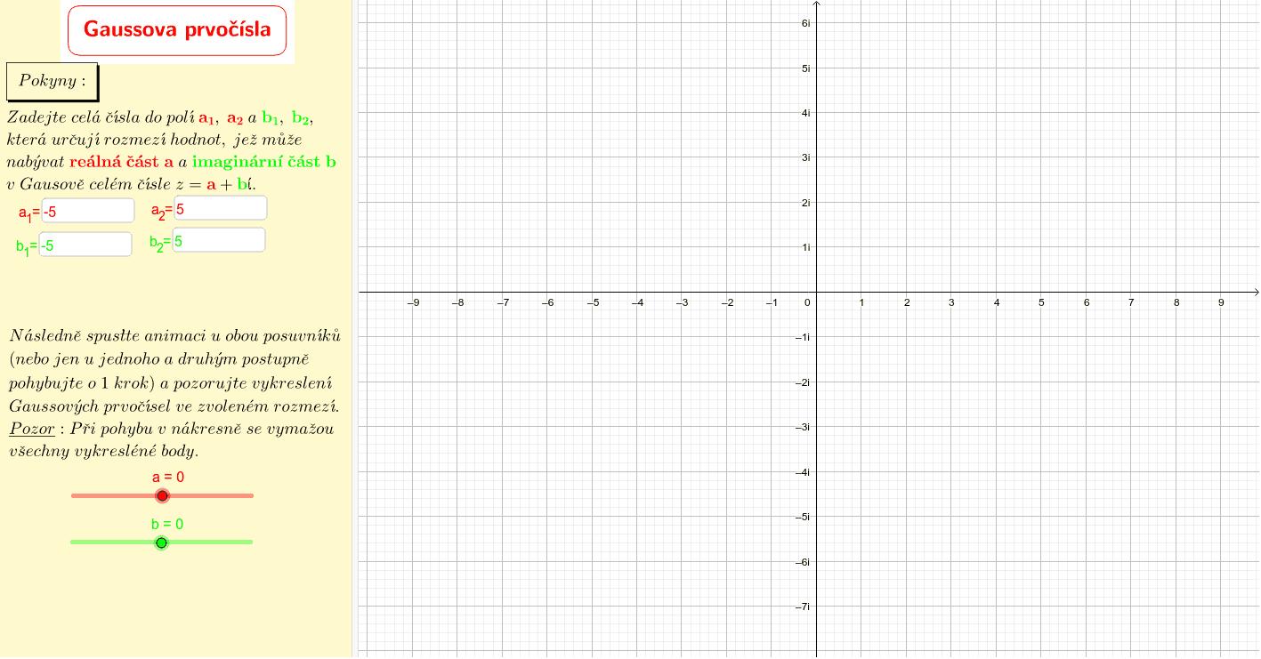 Gaussova prvočísla v komplexní rovině (generátor)