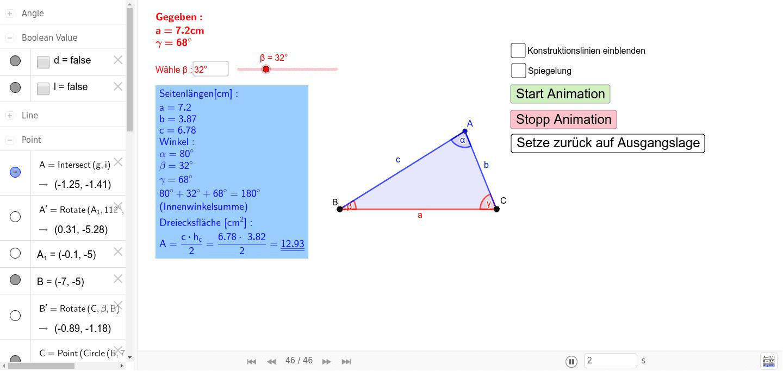 Aufgabenstellung: Konstruieren Sie ein Dreieck aus a = 7,2 cm; β = 32° und γ = 68°