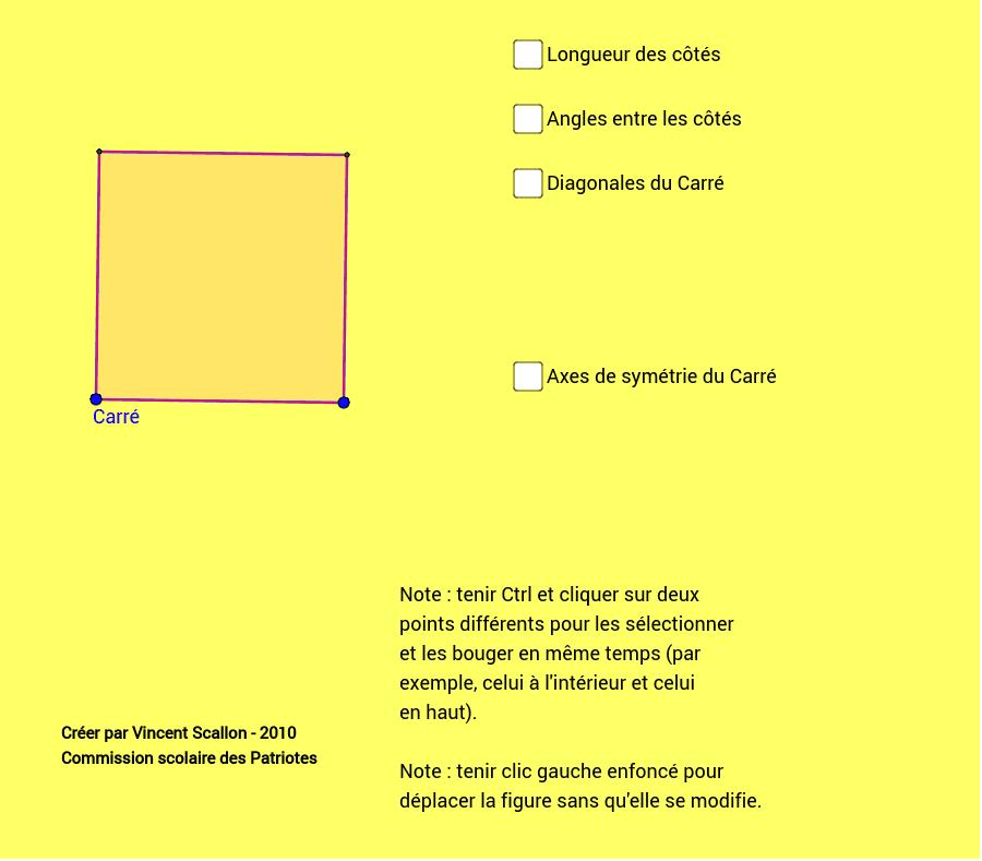 Exemple d'un fichier présentant des cases à cocher - Manipulation