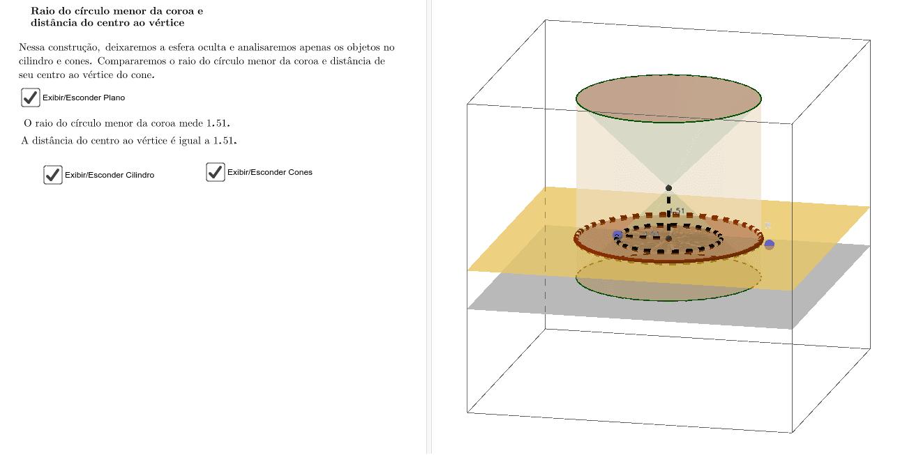 Raio do círculo menor da coroa e distância do centro ao vértice do Cone