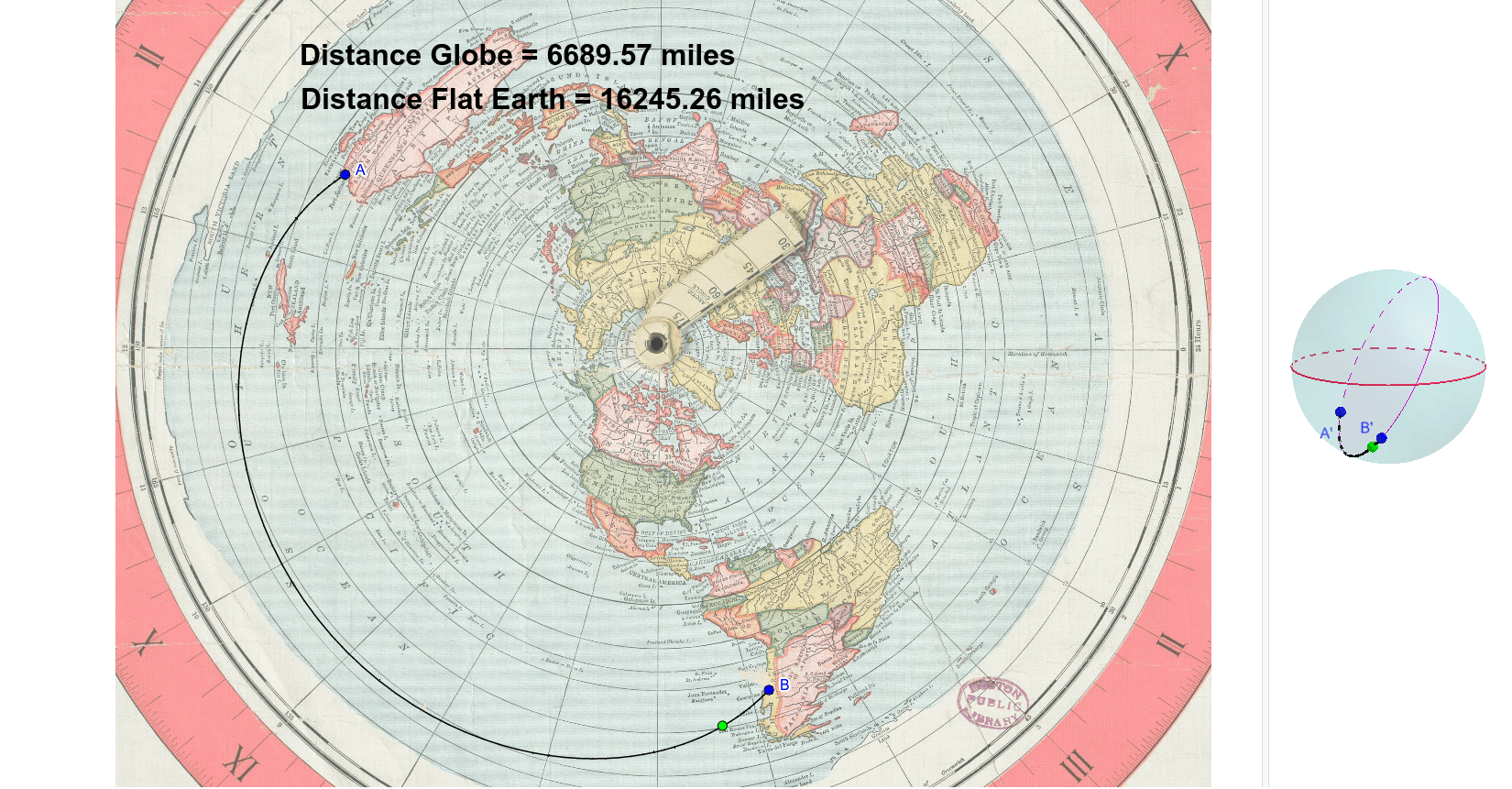 Flat earth great circle routes on gleason map geogebra flat earth great circle routes on gleason map author iskweb gumiabroncs Choice Image
