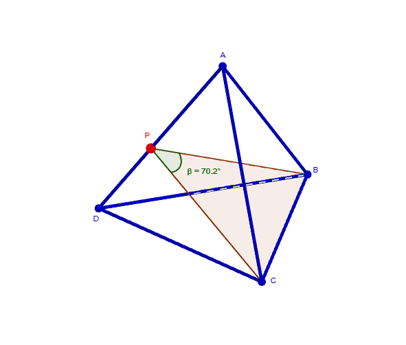 What can we state about the angle β when we move the point P?
