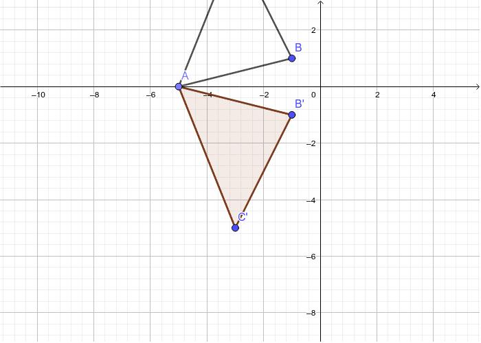 A'-(-5,0) B'-(-1,-1) C'-(-3,-5)