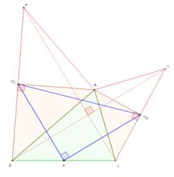 Deux triangles rectangles isocèles autour d'un triangle