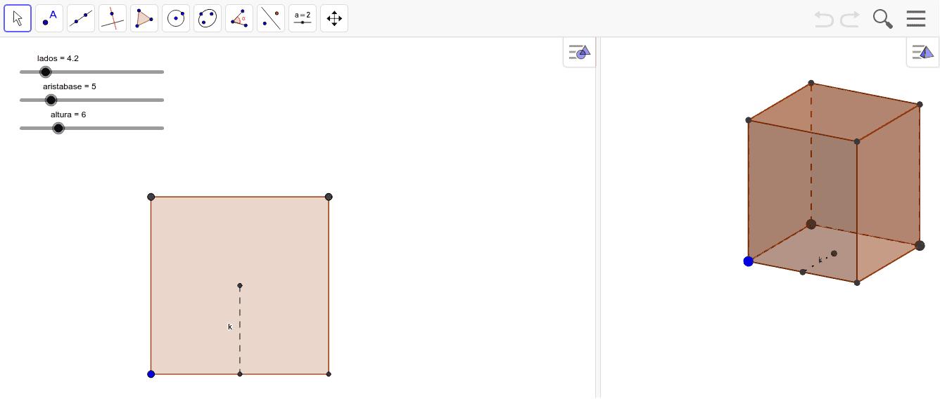 Representa un prisma eligiendo sus parámetros y observa el desarrollo plano