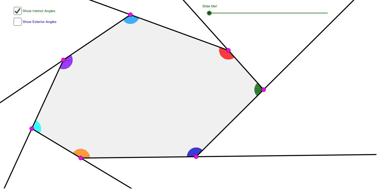 Heptagon Interior Exterior Angle Sum Theorems Geogebra