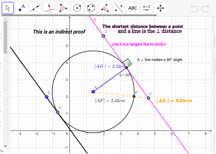 Each tangent is perpendicular to the radius that goes to the point of contact