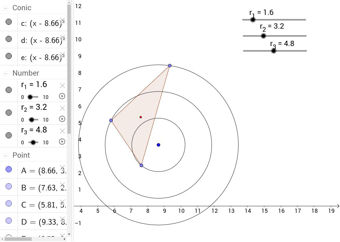 軌跡觀察---三同心圓上的三角形重心軌跡