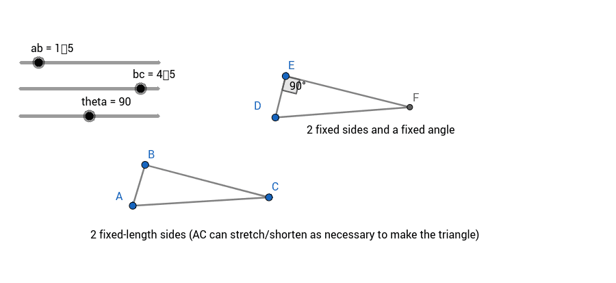 Click and drag the vertices of the triangles around. Notice the difference between how ABC behaves vs. DEF: