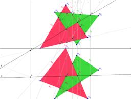 Két metsző háromszög -Monge projekcióban